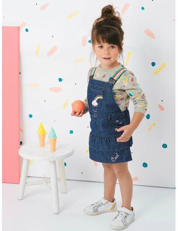 56d1b1adb Denim Dungaree Dress, with Iridescent Graffiti for Girls from Vertbaudet