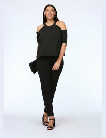 fc7bae8b4d840e Plus Nancy Cold Shoulder Jersey Top in Black from Pink Clove