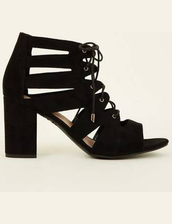 9767fb2fe3f Wide Fit Black Suedette Lace Up Ghillie Block Heels New Look from New Look