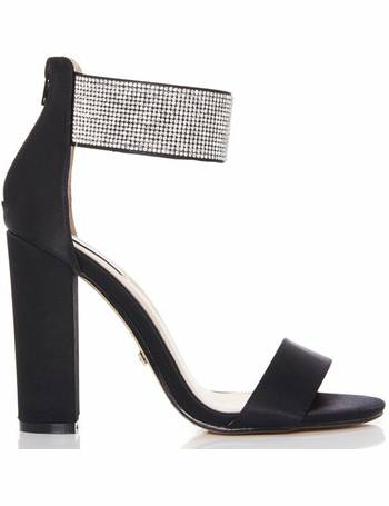 9a036cfd2bb Black Diamante Ankle Strap Block Heel Sandals from Quiz Clothing