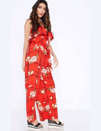 78b8044806 BETHANIA - Checked Printed Red Jumpsuit from Blue Vanilla