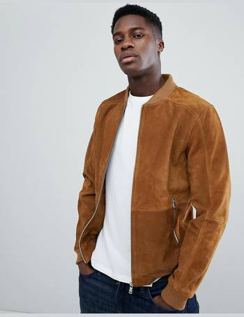 566005e45 Suede Bomber Jacket In Tan