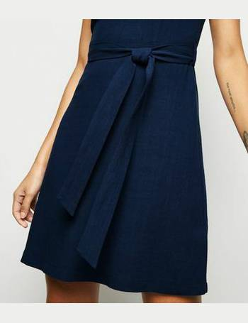 27d4cd69e08 Navy Linen Look Belted Pinafore Dress New Look from New Look