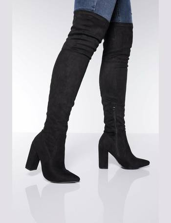 dcab6b5918de Black Over The Knee Block Heel Boots from Quiz Clothing