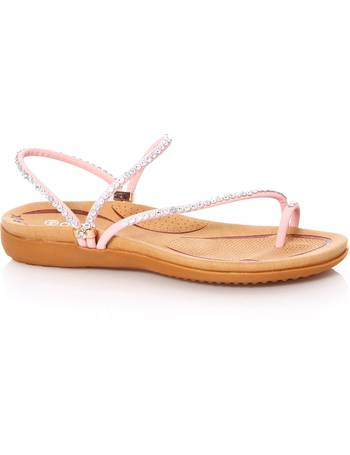 64b588be8c5 Pink Diamante Slant Strap Flat Sandals from Quiz Clothing