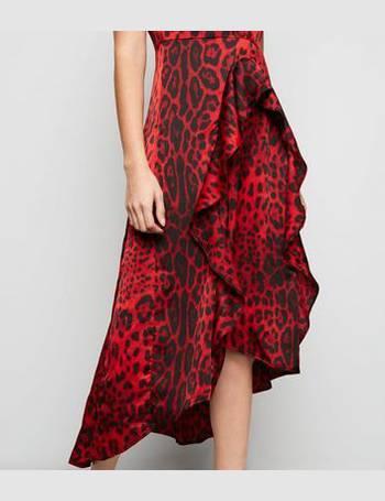 Ax Paris. Red Tiger Print Dip Hem Midi Dress New Look 7044f6413