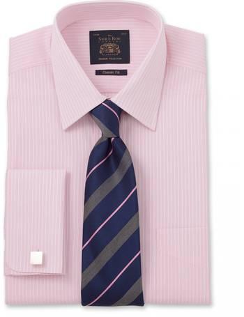 Savile Row Mens Blue White Narrow Stripe Classic Fit Linen-Blend Shirt L Standard