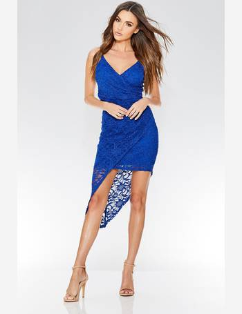 f49ba1c157bdb Royal Blue Lace Wrap Front Bodycon Dress from Quiz Clothing