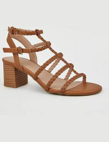 27a8adadc36 Wide Fit Tan Plait Strap Gladiator Sandals New Look from New Look
