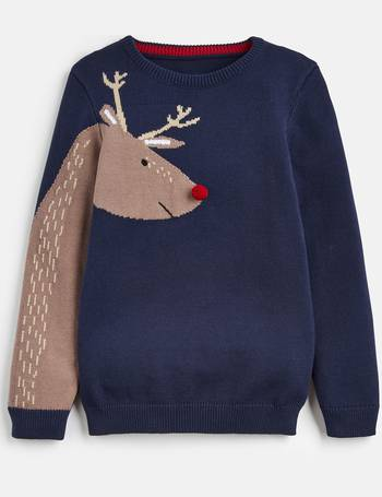 Joules Boys Zany Animal Intarsia Jumper RED DINO SPIKE