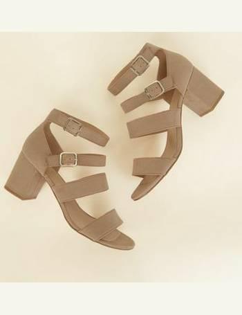 3314d1130db Light Brown Comfort Flex Suedette Strap Block Heels New Look from New Look