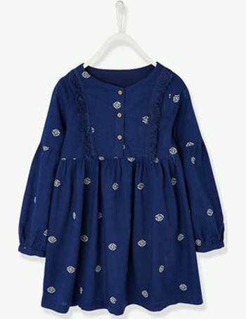 028d3416a3d46 Dress with Embroidered Ethnic Motif for Girls from Vertbaudet