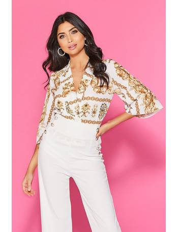 962aeb791478 Cream And Gold Scarf Print Bodysuit from Quiz Clothing