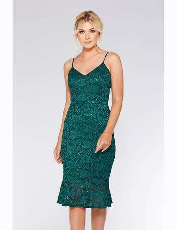 bf9e310d Bottle Green Lace Sequin Frill Hem Midi Dress from Quiz Clothing