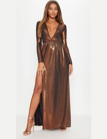 0e49efc2a501 Bronze Metallic Plunge Long Sleeve Maxi Dress from Pretty Little Thing