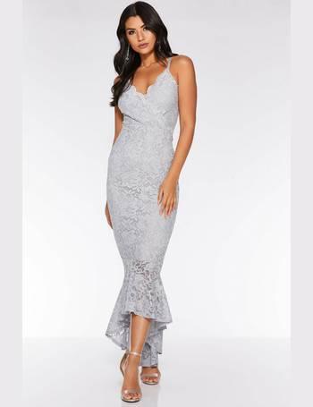 edb22c3239ae Grey Lace Glitter Dip Hem Maxi Dress from Quiz Clothing