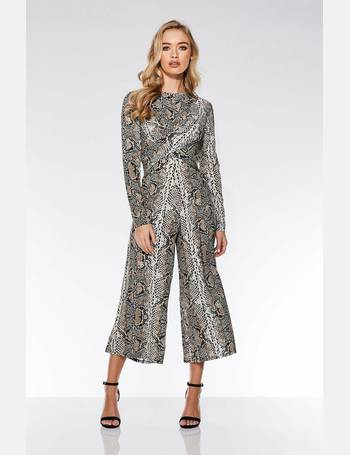 74da8e2f8d5 Stone and Black Snake Knot Front Culotte Jumpsuit from Quiz Clothing