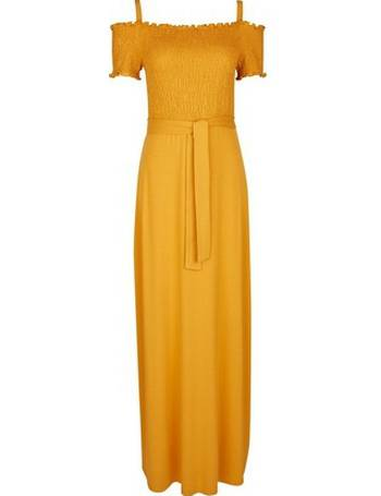 98d07d900168 Womens Yellow Shirred Cold Shoulder Maxi Dress- Orange from Dorothy Perkins