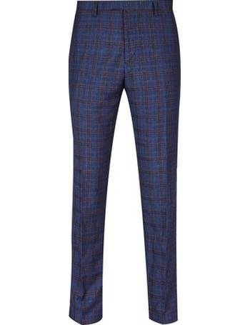 4533668a3bdfc Mens 1904 Archer Navy Check Slim Fit Suit Trousers from Burton