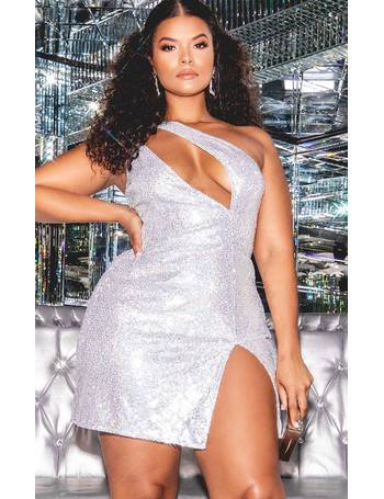 a7eb9525 Hailey Baldwin - Plus Silver Sequin One Shoulder Cut Out Bodycon Dress from  Pretty Little Thing