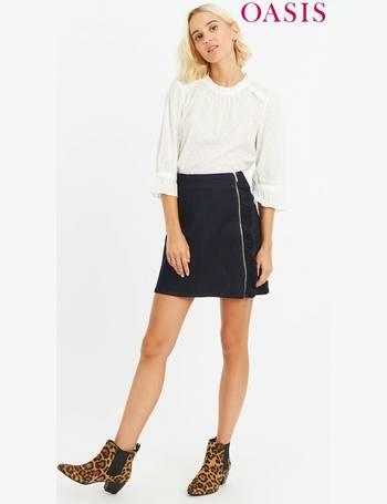 8187ab4f07c Dark Wash Zip Through Ruffle Skirt from Next
