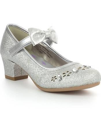 Lilley Girls Black Touch Fasten Heeled Shoe