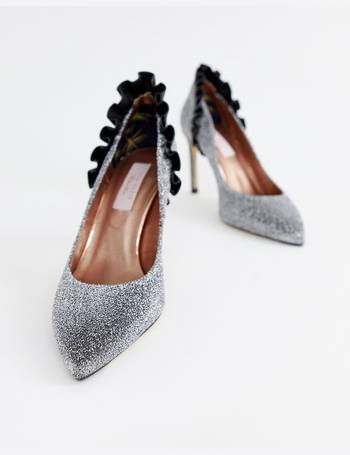 e12f52f7ed7f05 Ted Baker. silver sparkling ruffle detail heeled court shoes