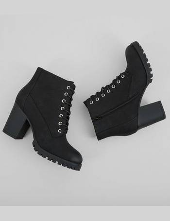 b271c1b763 Wide Fit Black Lace Up Heeled Biker Boots New Look from New Look