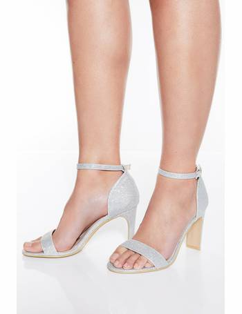 42fdec8033f4 Silver Shimmer Heeled Sandals from Quiz Clothing