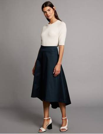 cf1d506399 Cotton Rich Dipped Hem A-Line Midi Skirt from Marks & Spencer