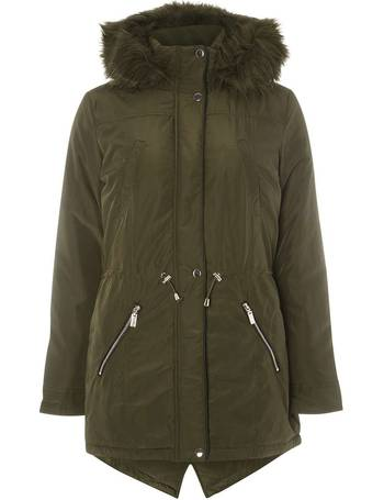 601fa3ad364 Womens Khaki Faux Fur Trim Parka Coat- Khaki from Dorothy Perkins