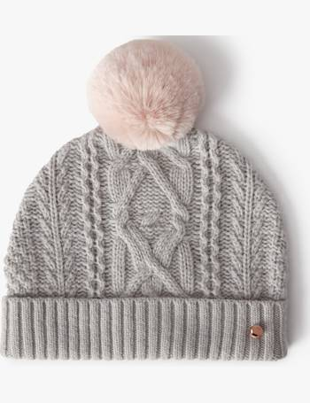 f490360a Wool Blend Cable Knit Faux Fur Pom Pom Beanie Hat from John Lewis
