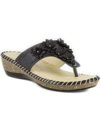 cf52f156f0a2 Womens Softlites Black Toe Post Sandal with Flower from Shoe Zone