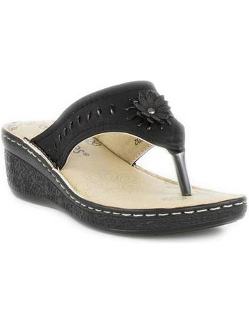 8ac56795a787 Softlites. Womens Black Comfort Toe Post Sandal. from Shoe Zone
