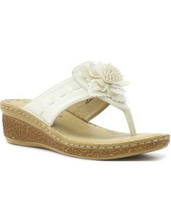 af46b04e2384 Softlites. Womens Comfort Toe Post Sandal in White. from Shoe Zone