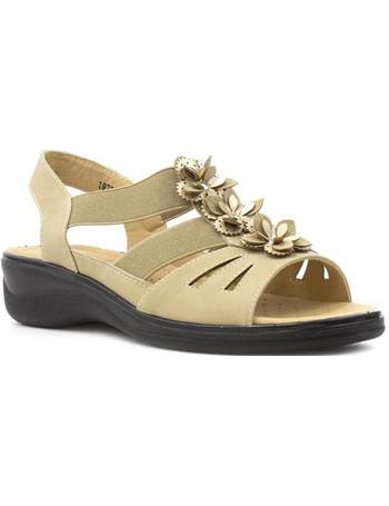 bdce435f13c6 Softlites. Womens Beige Flower Wedge Comfort Sandal. from Shoe Zone