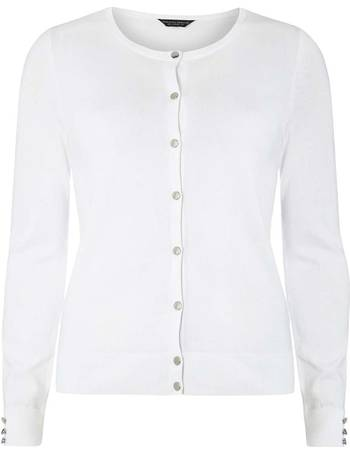 2ca10f5f56 Womens White Gold Button Cotton Cardigan- White from Dorothy Perkins