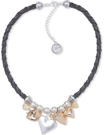 4b8568be016 Taupe Leather Multi Heart Charm Necklace from House Of Fraser
