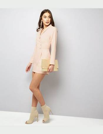 087dc0c7a0 from The Fashion Bible. £20.00. Shell Pink Satin Tuxedo Playsuit from New  Look