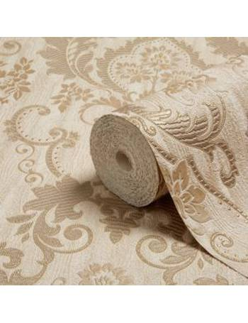 Opus Valentina Gold Damask Trail Textured Wallpaper From BQ