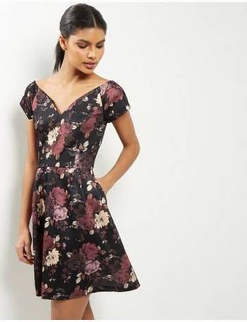 9c0199db01b Dark Purple Floral Bardot Neck Mini Dress from New Look. 35% OFF