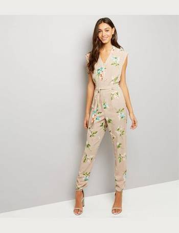 ef9f2e99c19 Stone Floral Print Zip Front Jumpsuit from New Look. Quick View · Cameo Rose