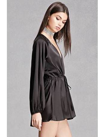 c439c7edfc Plunging V-Neck Satin Playsuit from Forever 21