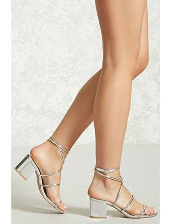 e537b9ebecf Metallic Ankle-Wrap Heels