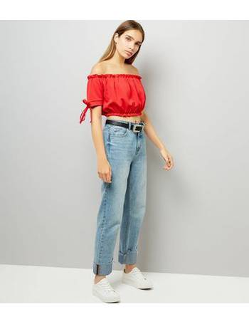 034fb346db03e Cameo Rose. Red Frill Trim Bardot Neck Crop Top New Look