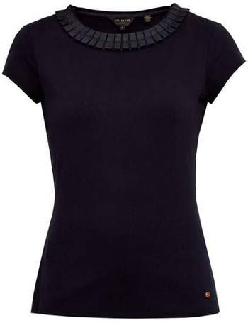 """Ted Baker /""""Sillia/"""" Baby Pink Frill Neck Fitted T-Shirt"""