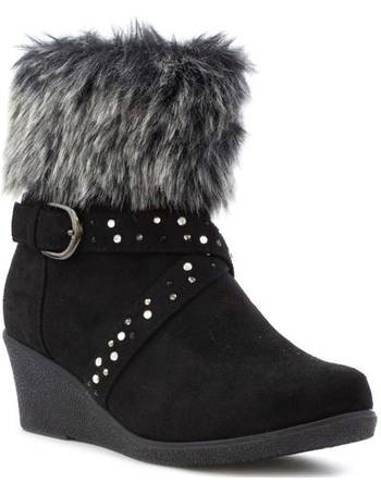 Girls Boot Faux Fur Top Boot by Lilley