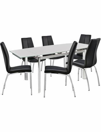 78ca7efc8c7 Erik Ext White Glass Table   6 Milo Chairs from Argos