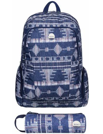 eb39d32dfa Roxy Blue Tribal Backpack with Matching Pencil Case from Argos