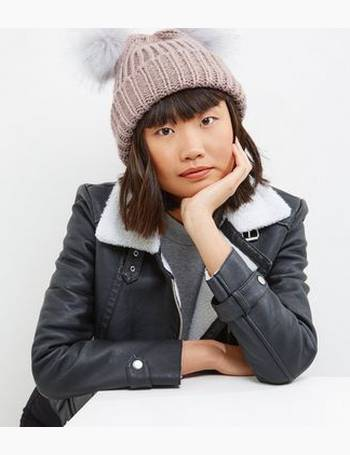 Pink Double Faux Fur Pom Pom Beanie Hat New Look from New Look 15b61f885a7